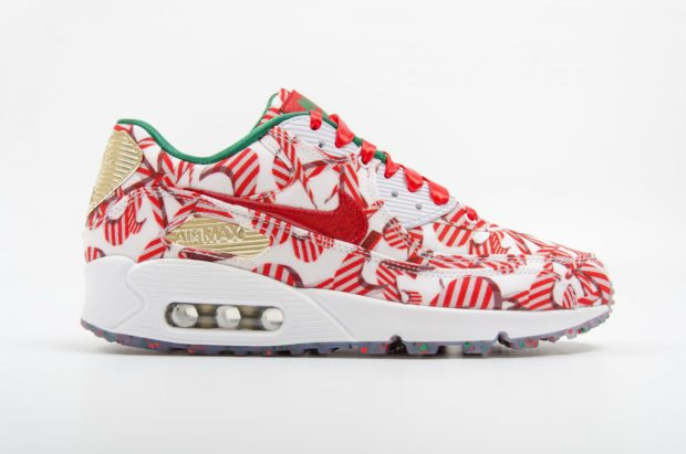 """cheap for discount 377b1 b75ef Continuing with the candy cane theme and releasing alongside a  similarly-styled Blazer High, the women s Air Max 90 """"Gift Wrapped""""  featured an all-over ..."""